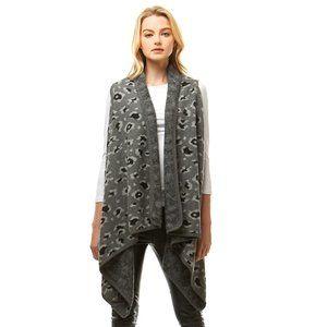 LOF Leopard Pattern Vest Shawl